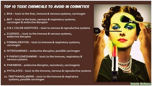 10 Toxic Chemicals in make-up