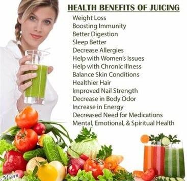 Health Benefits Vegetable Fruit Juicing
